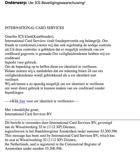 Opnieuw valse e-mail 'ICS' in omloop