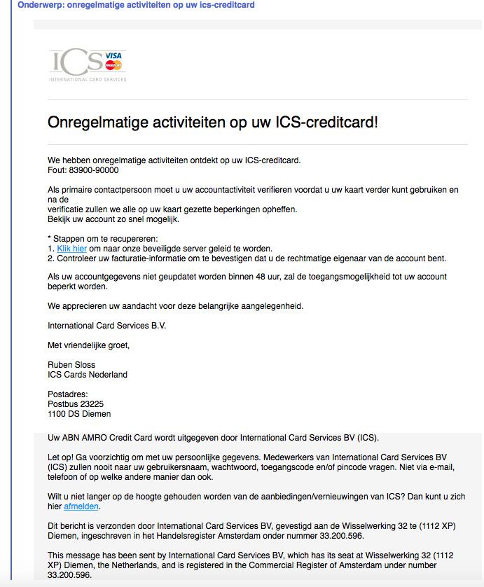 Opnieuw valse e-mail 'ICS'