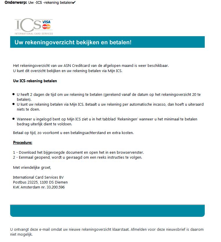 Valse e-mail uit naam van ICS over rekeningoverzicht