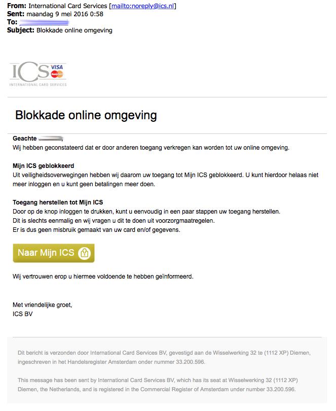 ICS valse e-mail: 'Blokkade online omgeving'
