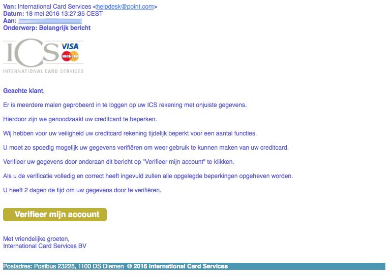 Phishingmail 'ICS': trap niet in 'Belangrijk bericht'