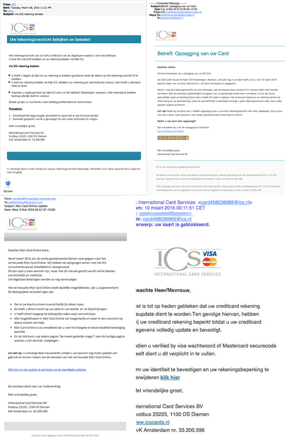 Vier verschillende valse e-mails 'ICS' in omloop