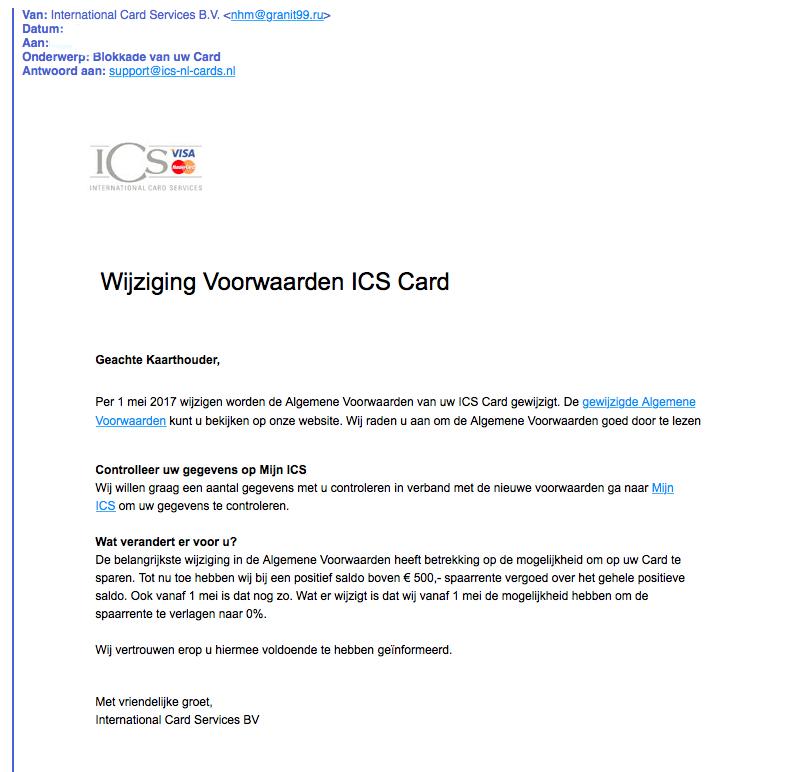 Pas op voor reeks phishingmails 'ICS'