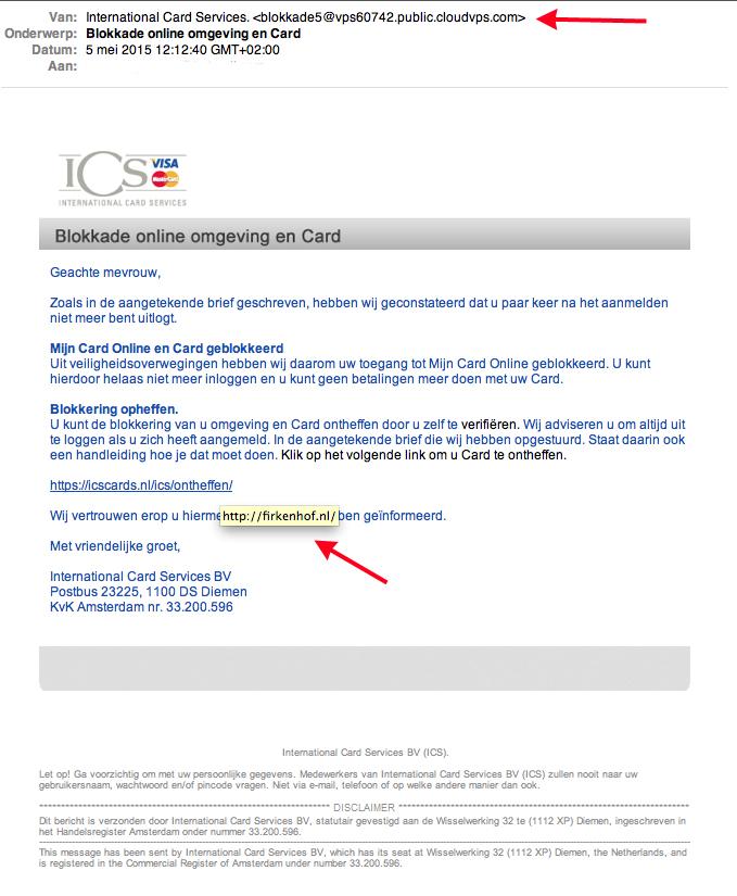 Valse mail ICS: 'blokkade online omgeving en card'