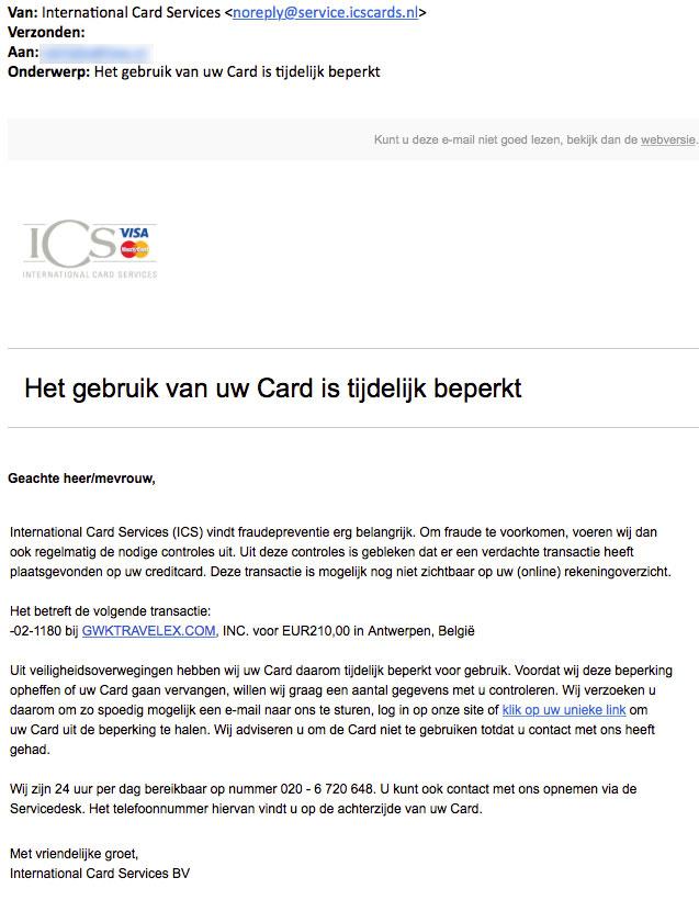 'ICS' dreigt met blokkeren pinpas in valse e-mail