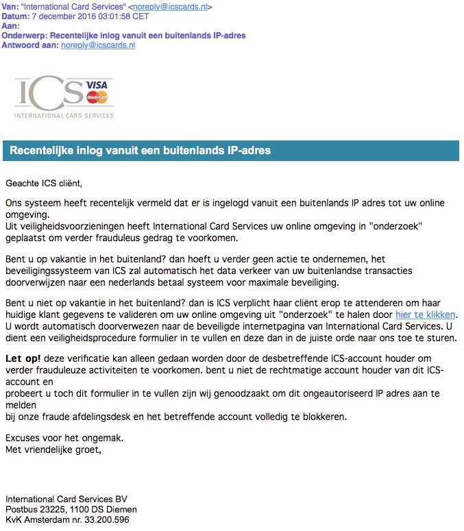 Valse e-mail 'ICS' over buitenlandse inlogpoging