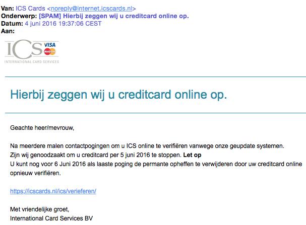Verschillende phishingmails 'ICS' in omloop