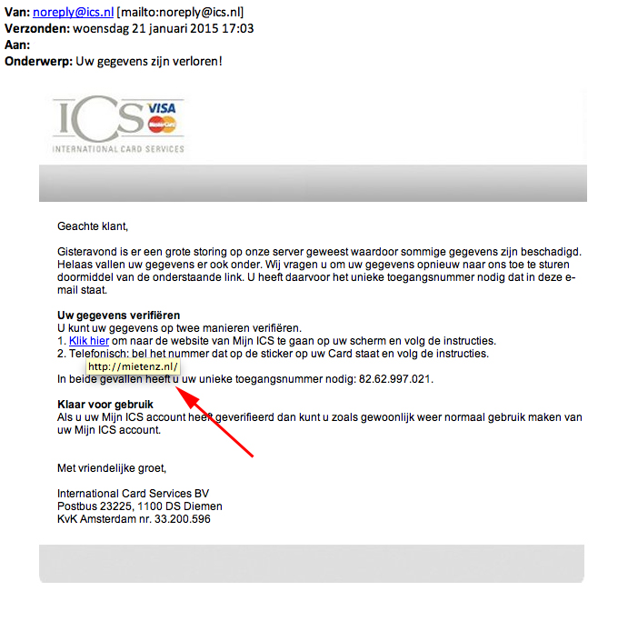 Valse mail ICS Visa: 'storing'