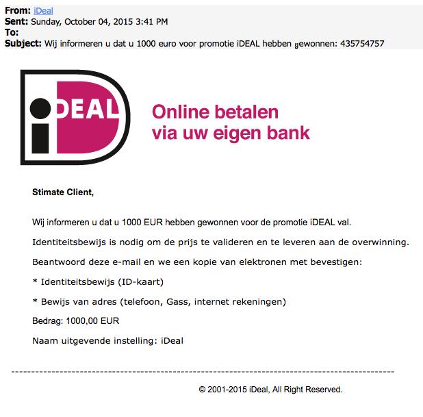 Mail iDEAL over gewonnen prijs is nep!