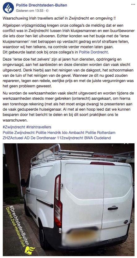 Politie waarschuwt voor Ierse klusjesmannen in Zwijndrecht en omgeving