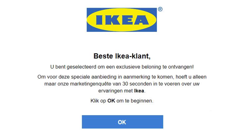 Pas op voor 'IKEA' phishingmail!