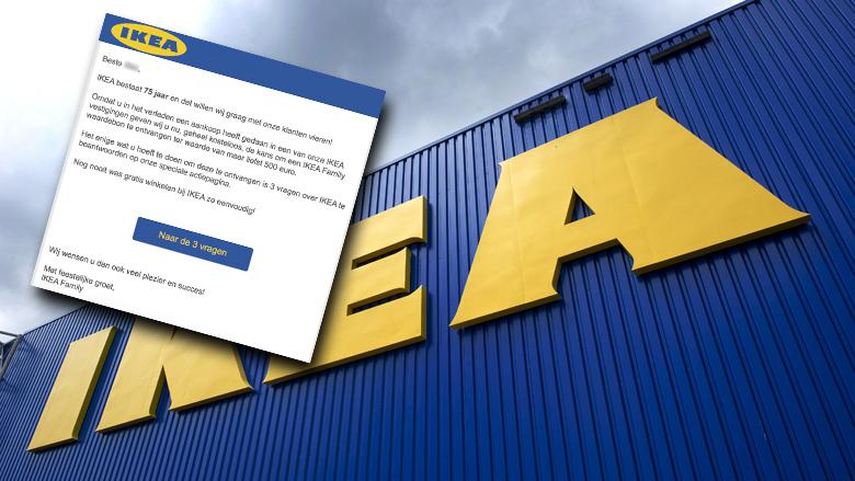 Mail van 'IKEA' over cadeaubon is een valse winactie