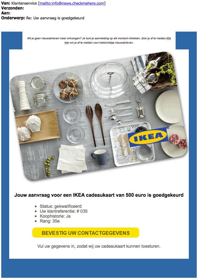 Winactie 'Ikea' blijkt vals