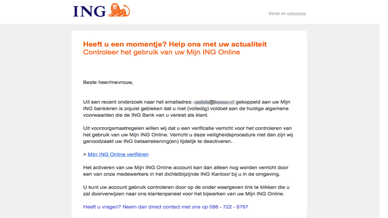 Pas op! E-mail 'controle Mijn ING Online' is nep