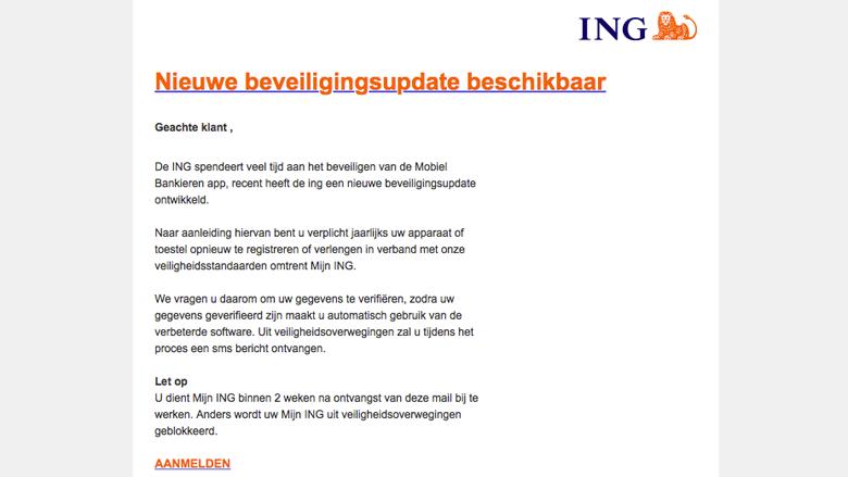 Alert! 'ING beveiligingsupdate' e-mail is nep