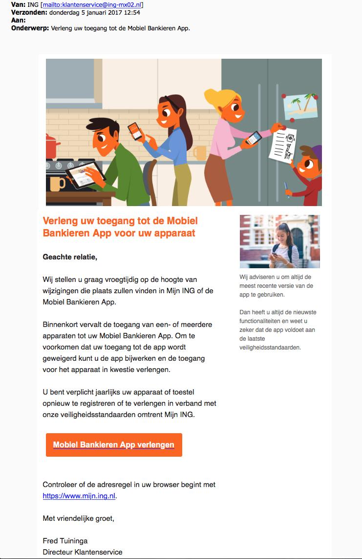 Valse e-mails 'ING' over Mobiel Bankieren App in omloop