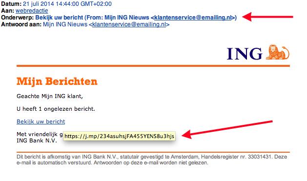 Valse e-mail ING: 'Bekijk uw bericht'