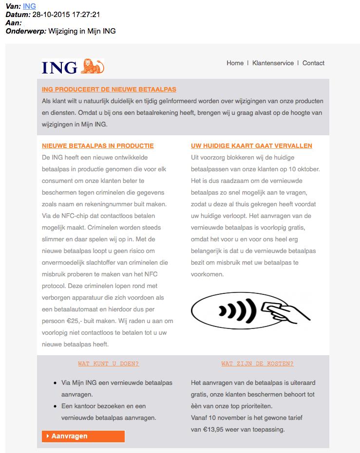 Nepmail ING: nieuwe betaalpas