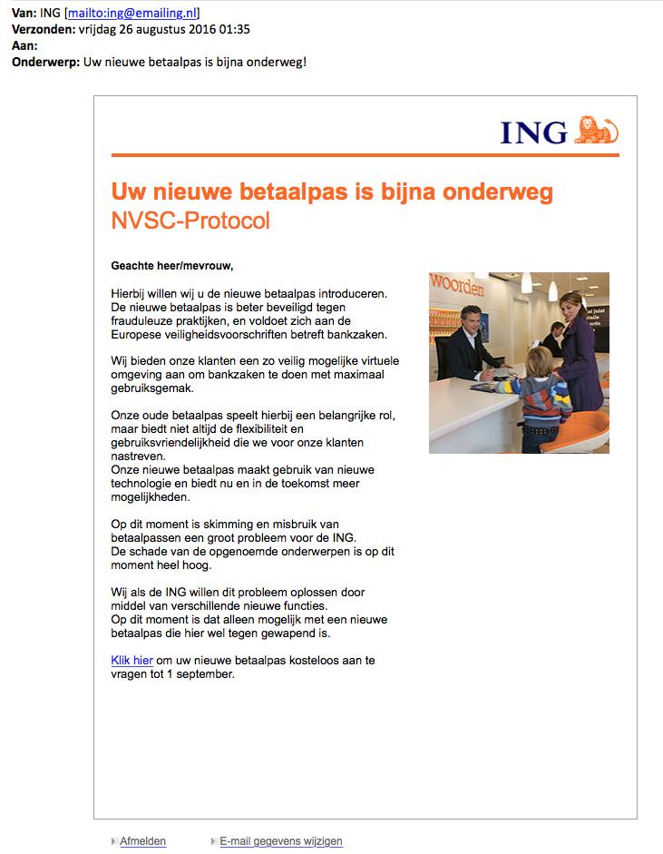 Pas op voor phishing e-mail over nieuwe ING-betaalpas!