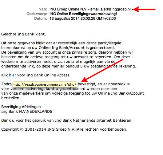 Valse e-mail ING: 'Online Beveiligingswaarschuwing'