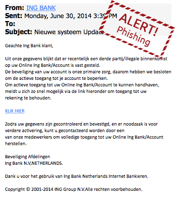 Valse mail ING over 'beperking account'