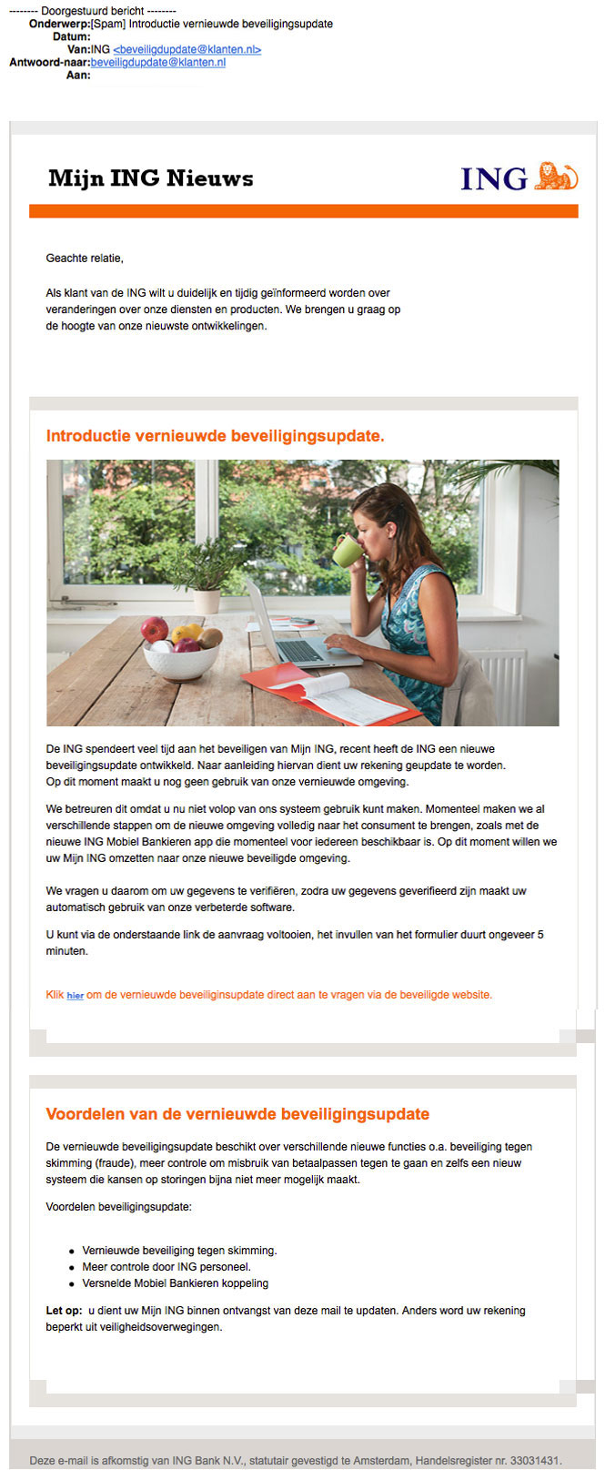 Valse e-mail ING Nieuws