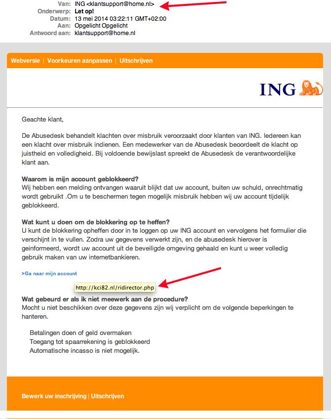 Valse e-mail ING: 'Let op! - account geblokkeerd'