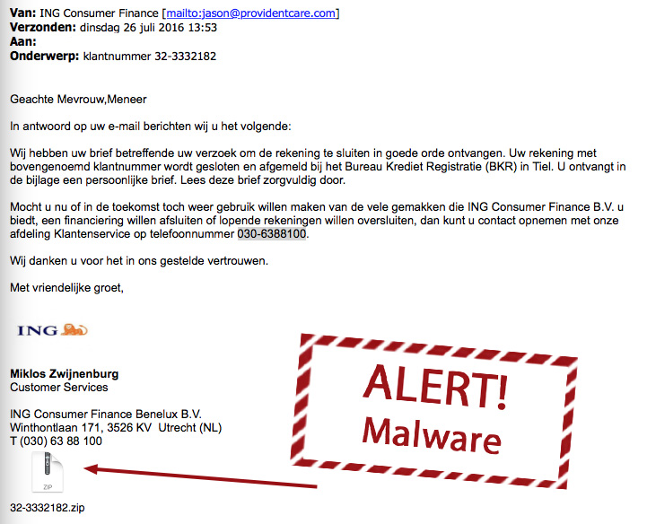 Malware e-mails ING in omloop