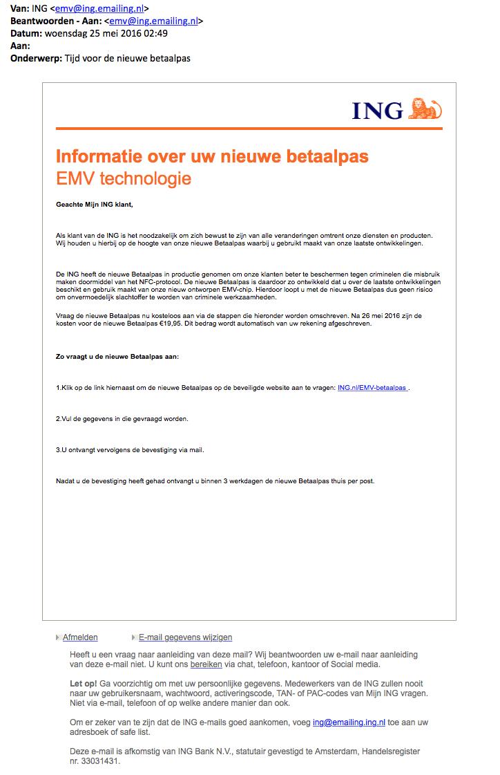 Valse e-mail: 'tijd voor nieuwe betaalpas'