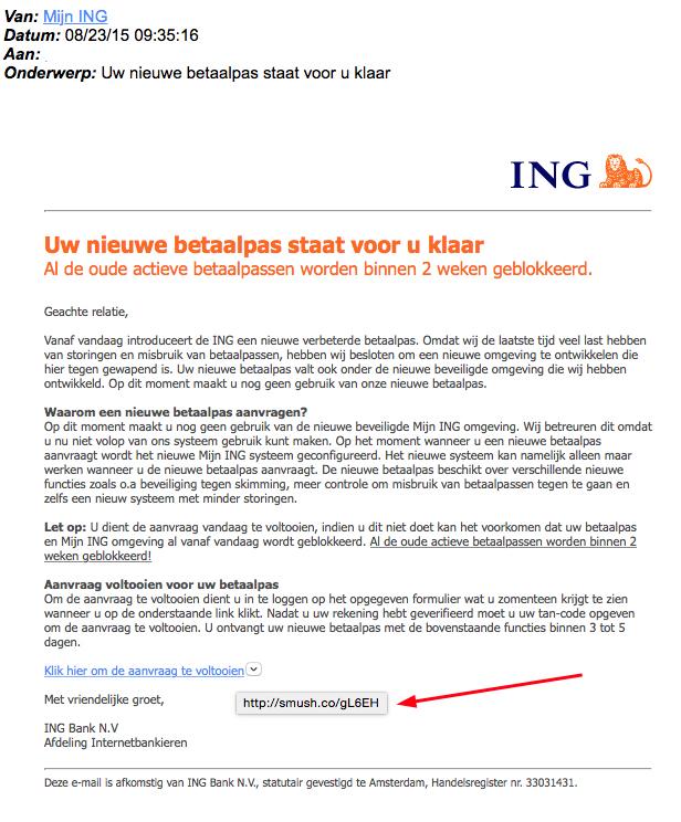 Mail over nieuwe ING-pas is phishing!