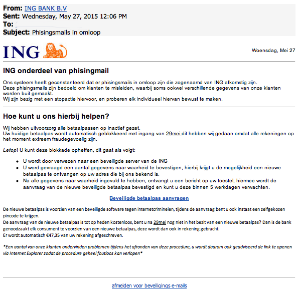 Mail ING over 'phising' is phishing!