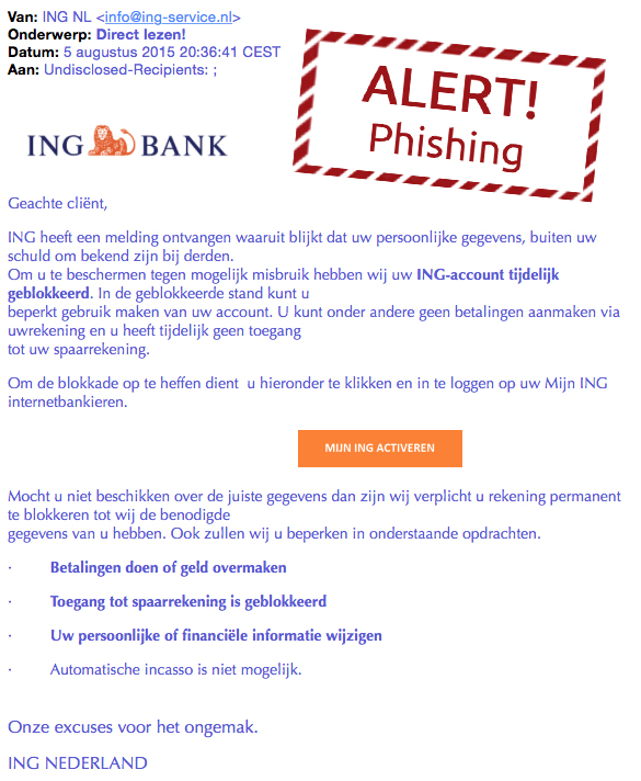 Valse mail ING: 'Direct lezen!'