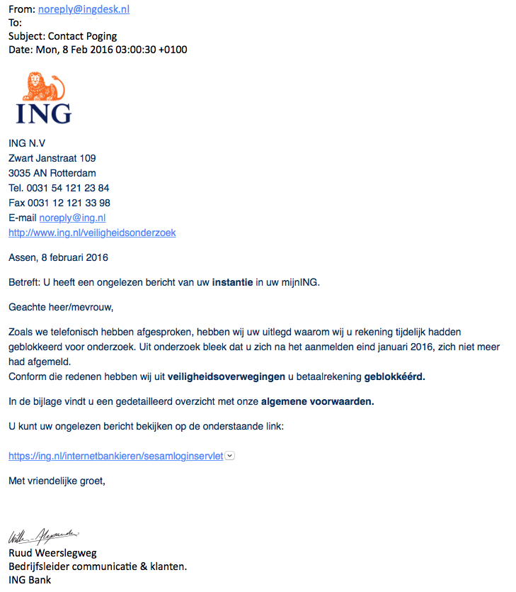Valse e-mail ING: 'Contact Poging'