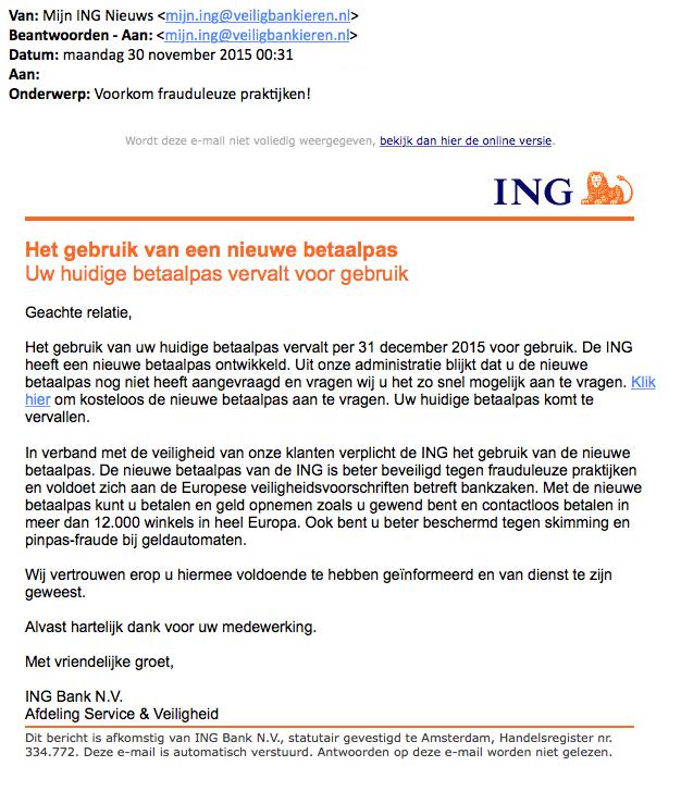 Phishingmail 'ING': 'Voorkom frauduleuze praktijken!'