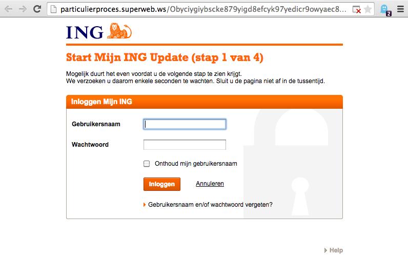 Mail ING 'Update op internetbankieren' is vals