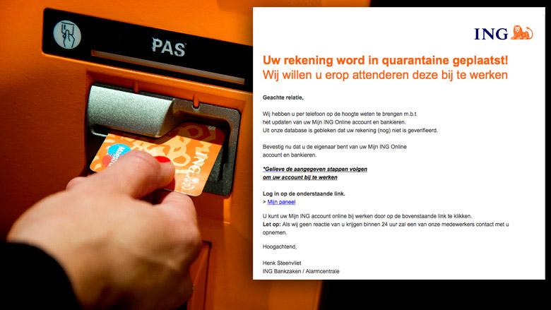 Phishingmail: 'Uw rekening word in quarantaine geplaatst'