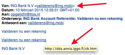 Valse e-mail ING: 'Valideren nu een rekening'