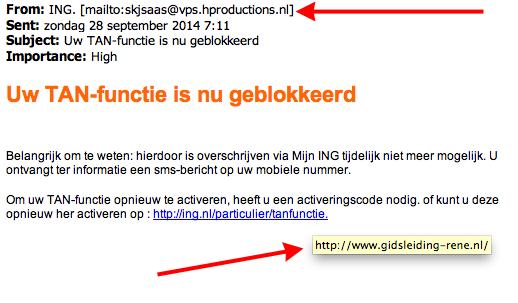 Valse mail ING: TAN-functie geblokkeerd