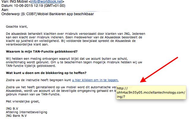 Valse mail ING: geblokkeerde TAN-functie