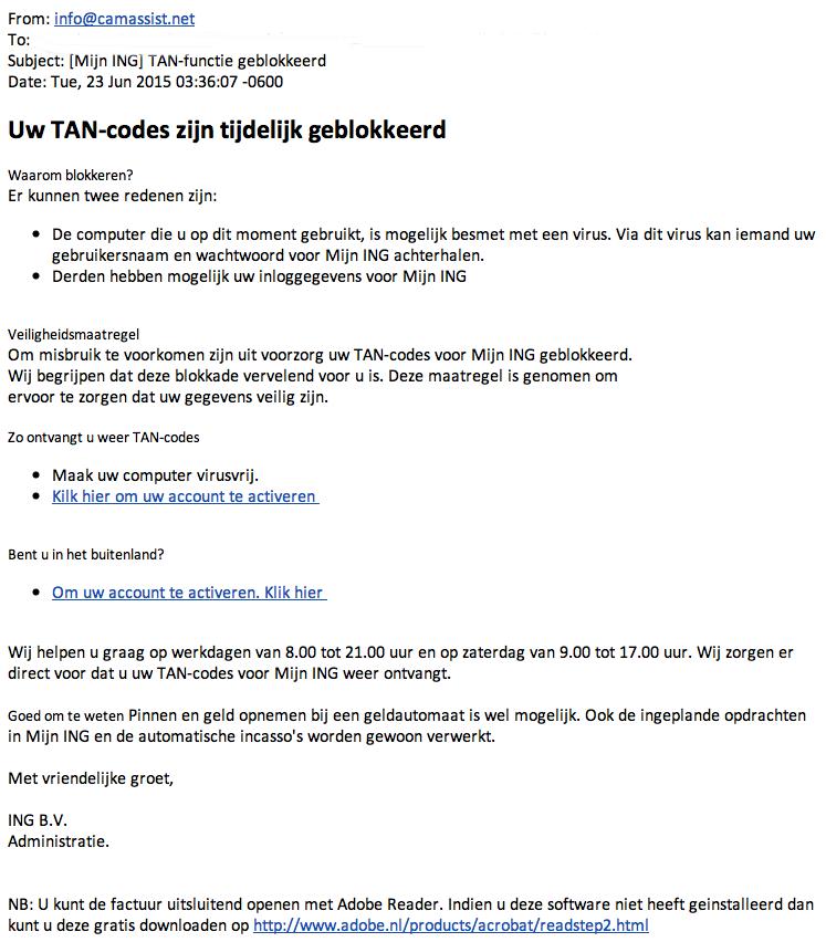 Mails 'TAN-functie geblokkeerd' zijn vals!