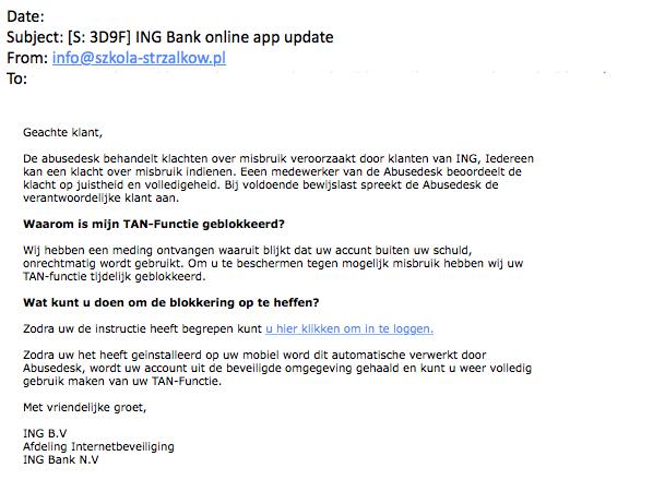 Valse mails 'ING' over geblokkeerde TAN-functie in omloop