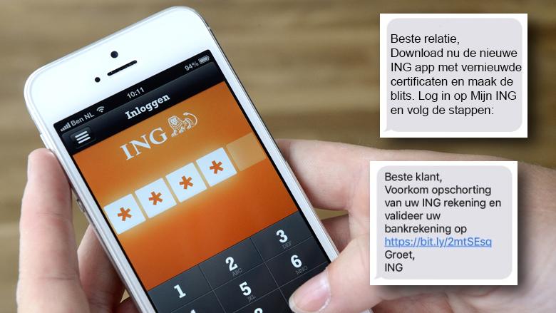 Pas op voor valse sms-berichten uit naam ING