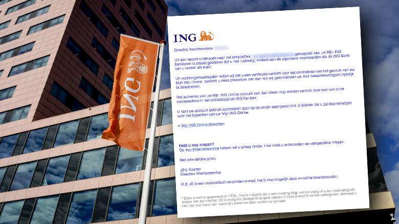 Opnieuw valse mails van 'ING' over voldoen aan Algemene Voorwaarden