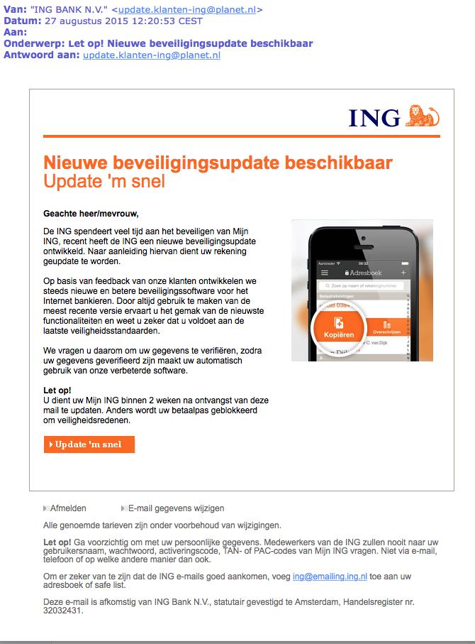 Phishing: 'ING beveiligingsupdate'
