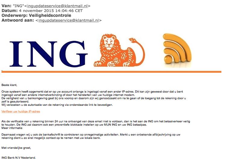 Mail 'veiligheidscontrole ING' is phishing