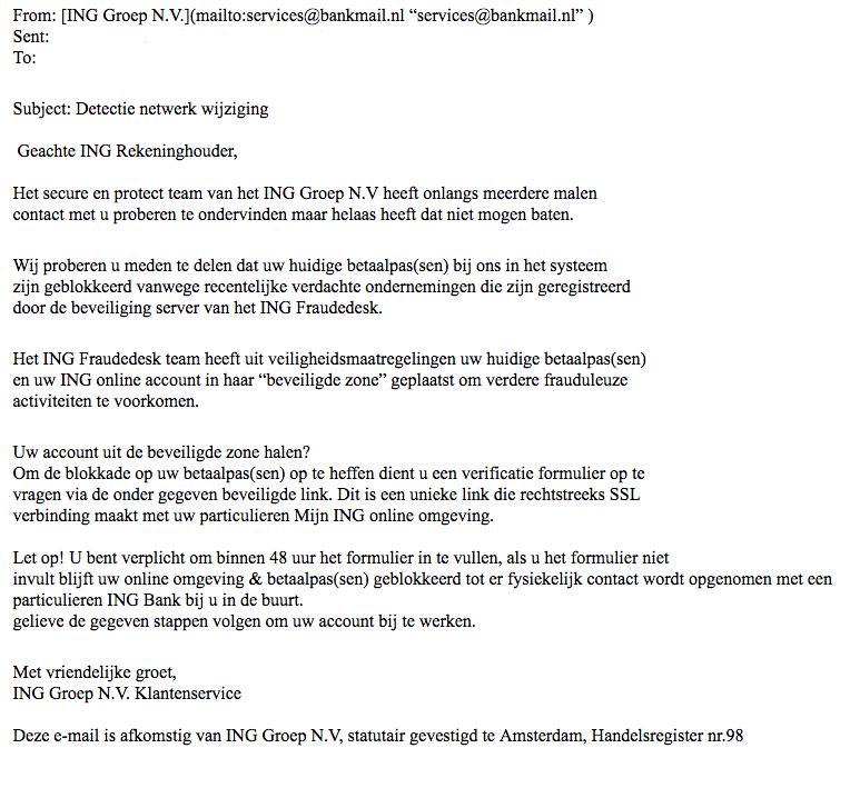 Valse e-mail 'ING' over een netwerkwijziging
