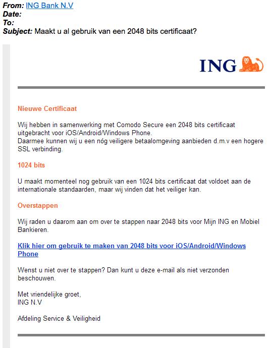 Ingewikkelde phishingmail 'ING' over certificaat