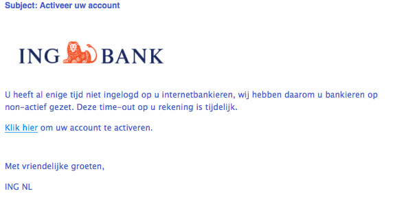 Pas op voor valse e-mail 'ING' over account