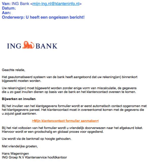 Opnieuw phishingmail 'ING' in omloop