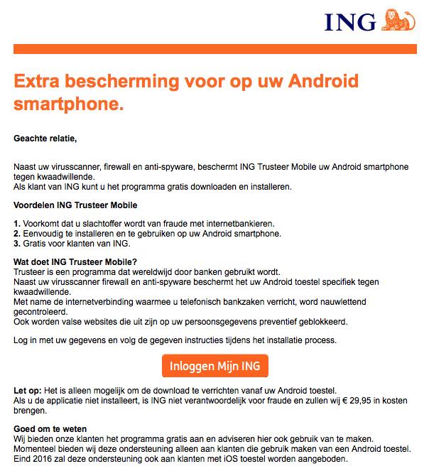 Bescherming smartphone namens 'ING'